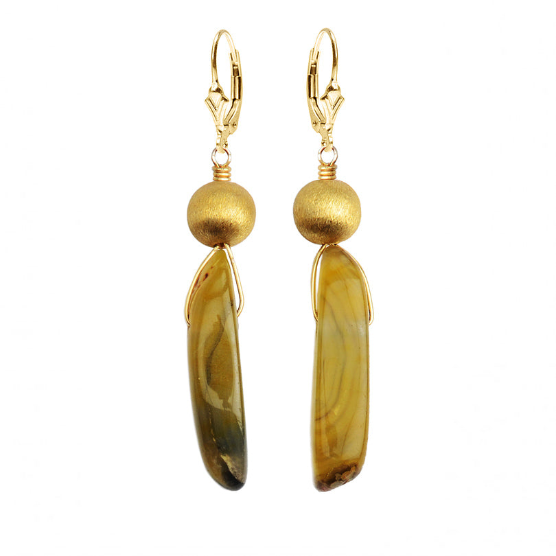 Shimmering Golden Agate Slice and Gold Filled Earrings