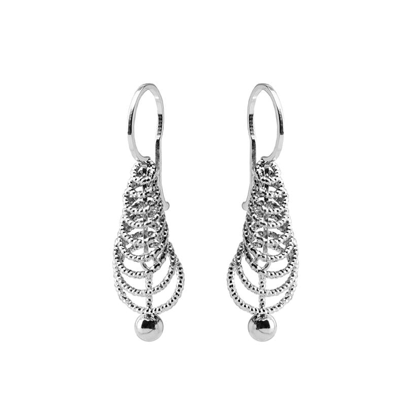 Petite Diamond Cut Rhodium Plated Sterling Silver Italian Earrings