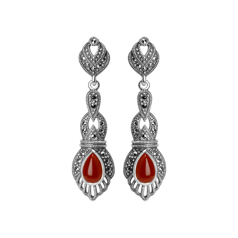 Gorgeous Carnelian Marcasite Sterling Silver Earrings