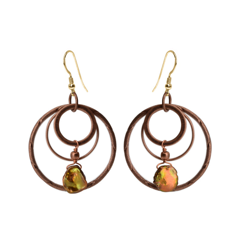 Fresh Water Pearl Copper Plated Earrings with Gold Fill Hooks