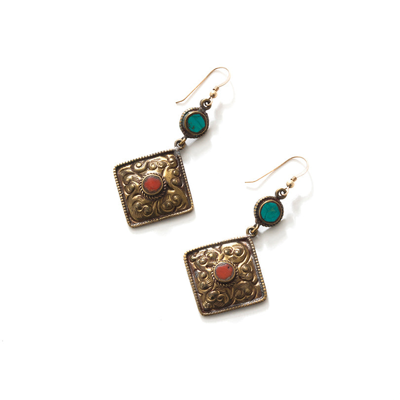Nepal Himalayan Coral and Turquoise Brass Earrings