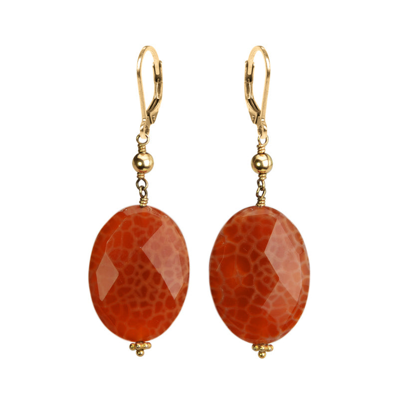 Fire Agate Gold Filled Earrings