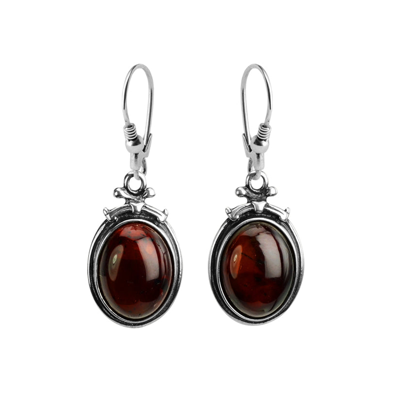 Elegant Vintage Inspired Cherry Baltic Amber Sterling Silver Earrings
