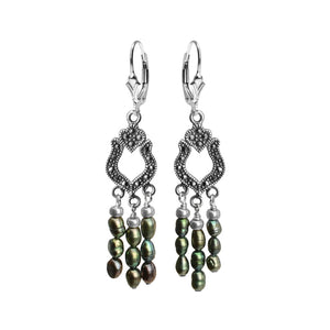 Delicate Chandelier Marcasite with Green Pearl Sterling Silver Earrings