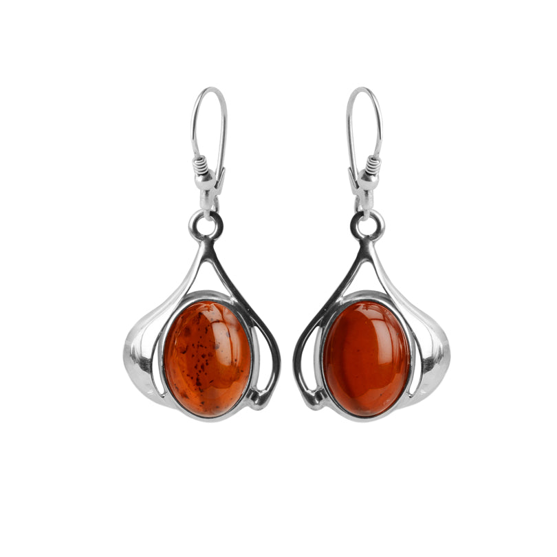 Beautiful Vibrant Cognac Baltic Amber Sterling Silver Earrings
