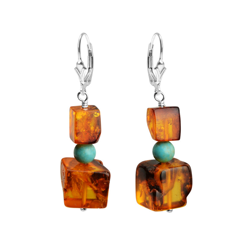 Baltic Cognac Amber and Sleeping Beauty Turquoise Sterling Silver Earrings