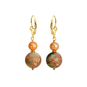 Brilliant Unakite and Fresh Water Pearl Gold Filled Earrings