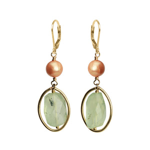 Prehnite and Fresh Water Pearl Gold Filled Earrings