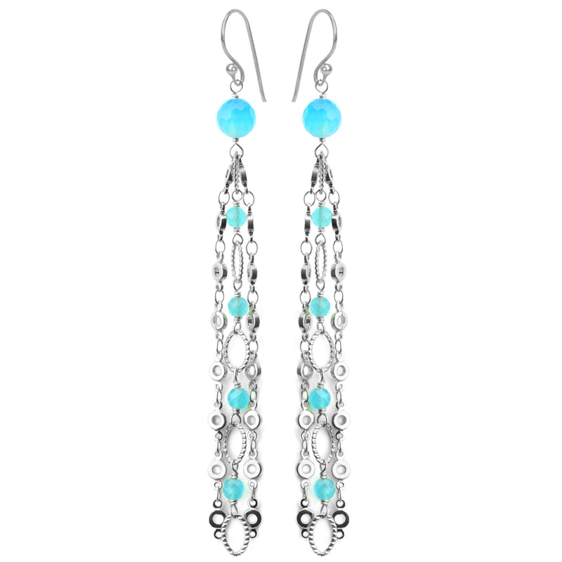 Alluring Blue Agate Silver Plated Chain Earrings