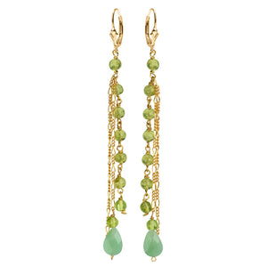 Peridot and Faceted Aventurine Gold Filled Earrings