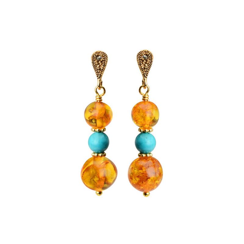 Elegant Cognac Baltic Amber, Turquoise and Sparkling Marcasite Accent Gold Filled Earrings