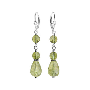 Faceted Green Tourmalated Colored Glass Stones Sterling Silver Earrings