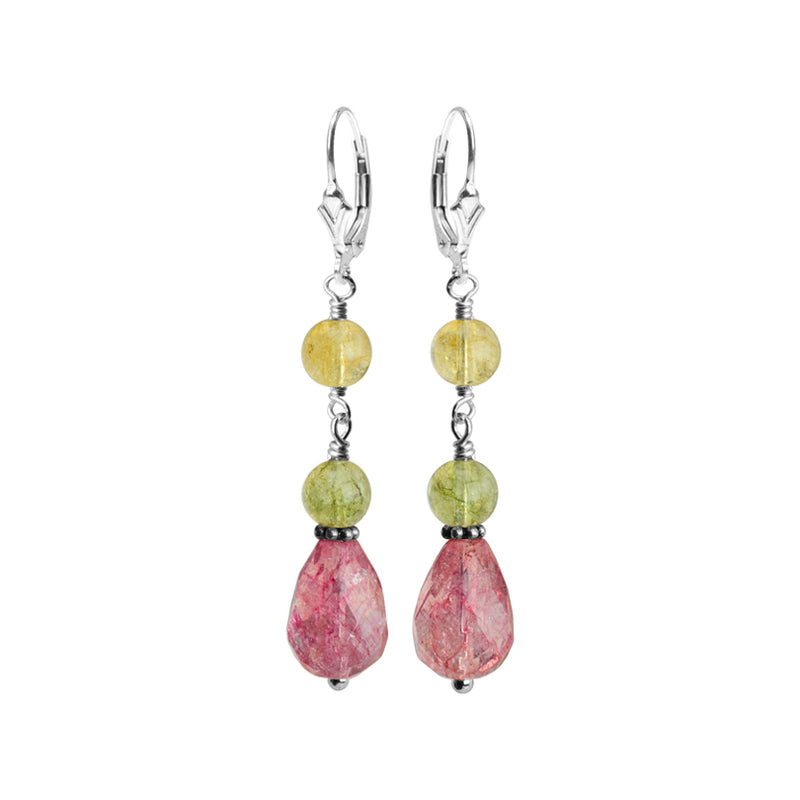Faceted Tourmaline Color Glass Stones Sterling Silver Earrings