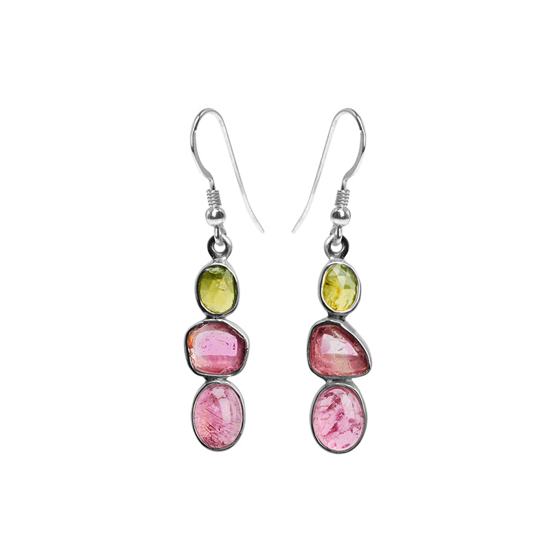Beautiful Shades of Natural Tourmaline Sterling Silver Earrings