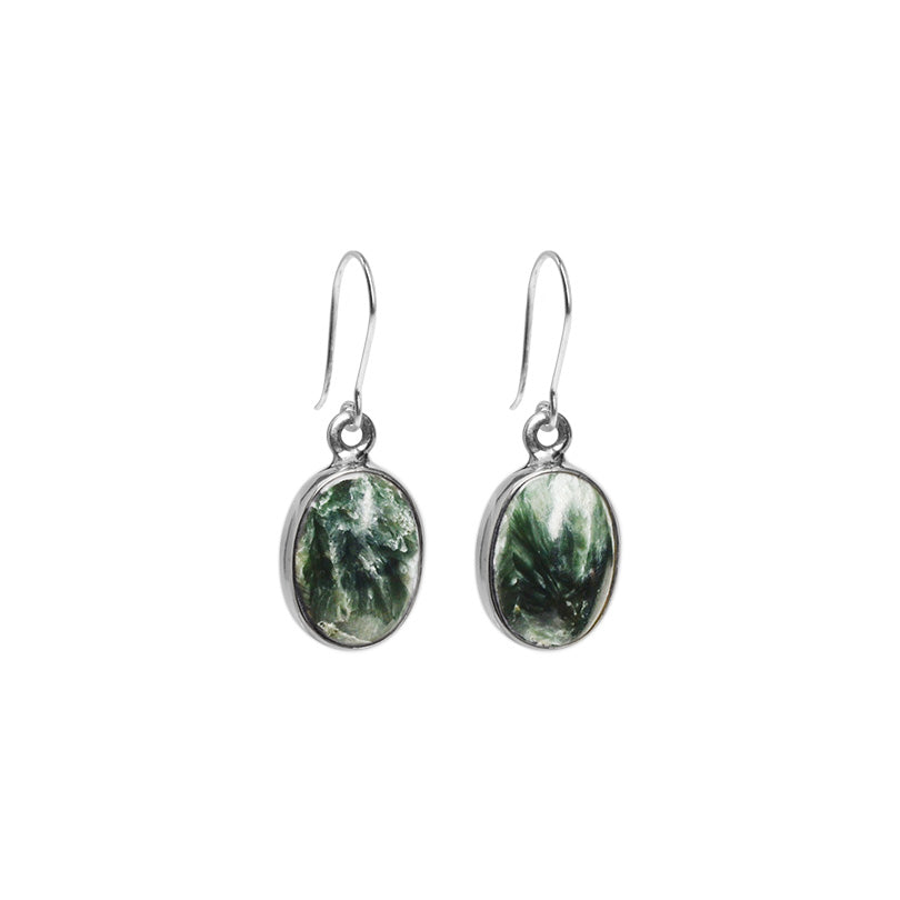 Rich, Forest Green Seraphinite Petite Sterling Silver Earrings