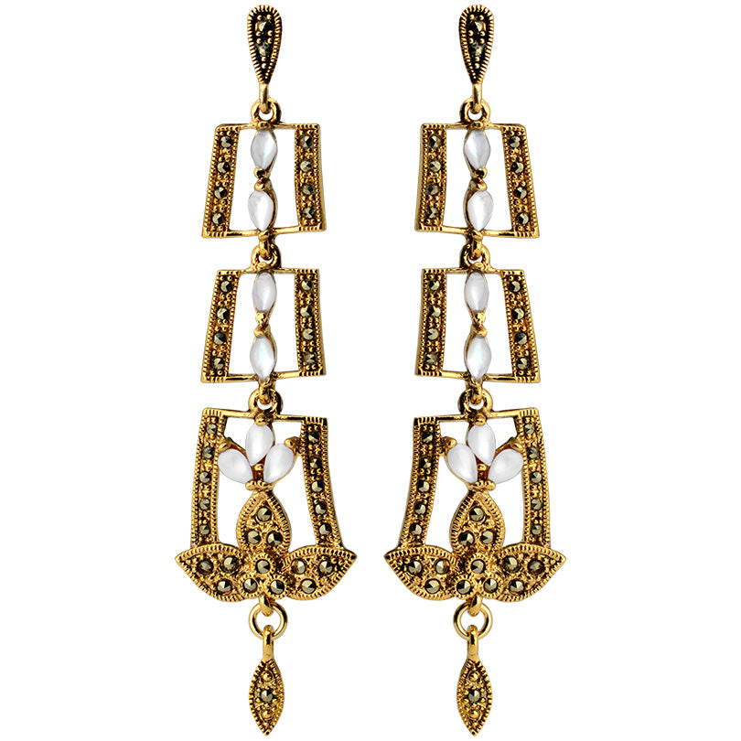 Gorgeous, Shimmering Art Deco Mother of Pearl and Gold Plated Marcasite Earrings