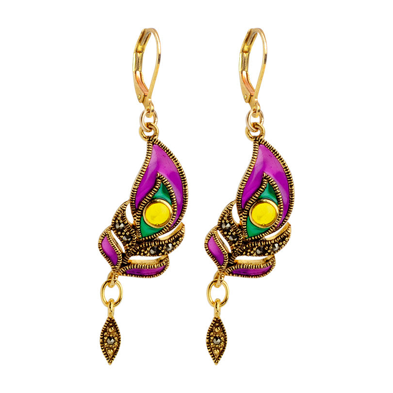 Brilliant Purple Enamel and Gold Plated Marcasite Peacock Earrings
