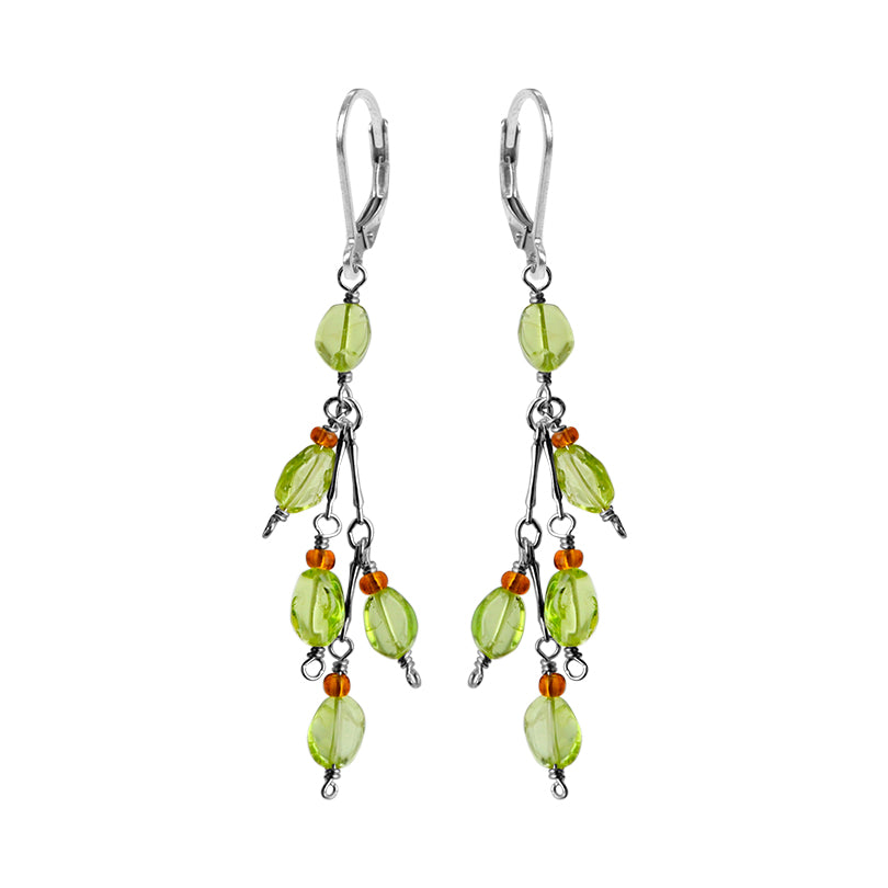 Pretty Green Peridot and Amber Delicate Sterling Silver Earrings