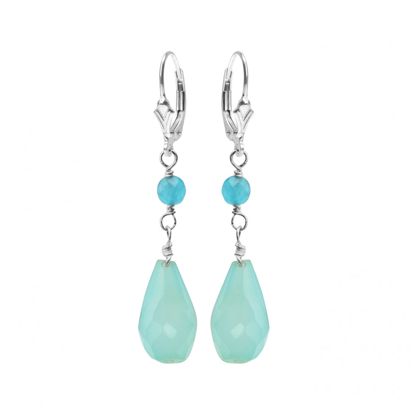 Sea Color Chalcedony and Blue Jade Sterling Silver Earrings