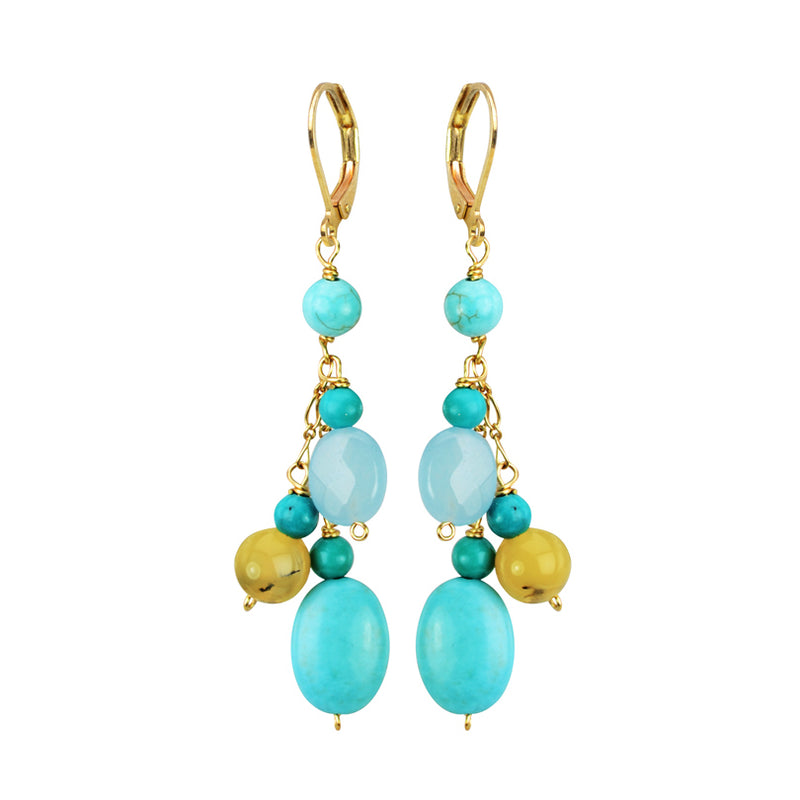 Flirty Turquoise, Chalcedony and Agate Gold Filled Hook Earrings