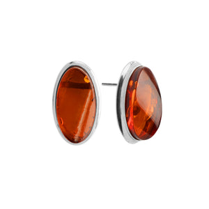 Brilliant Wave Cut Baltic Amber Sterling Silver Earrings