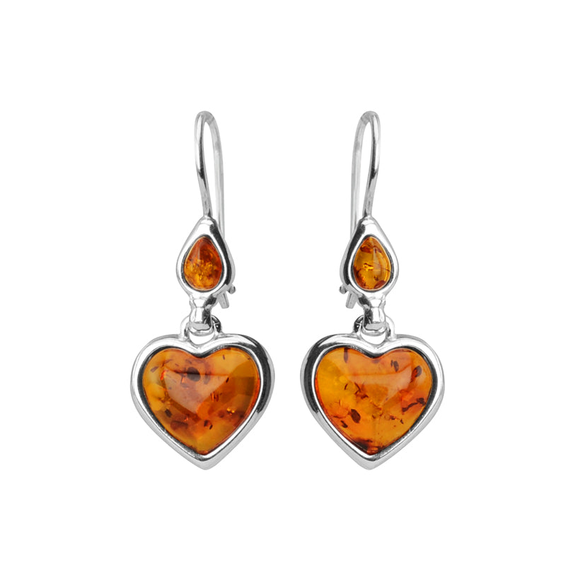 Heavenly Heart Cognac Baltic Amber Sterling Silver Earrings