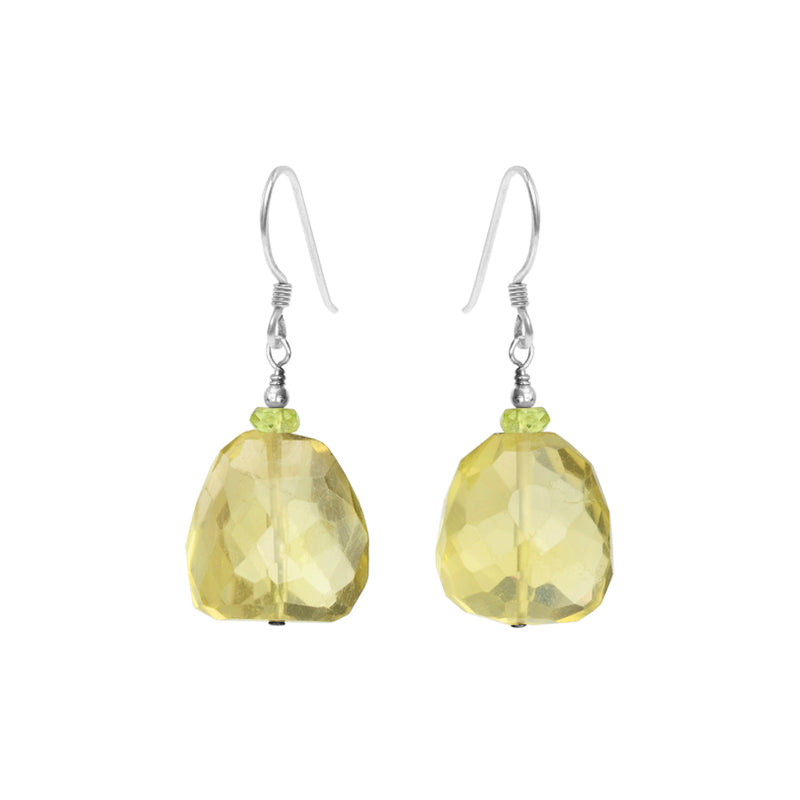 Sparkly Faceted Lemon Quartz Sterling Silver Earrings
