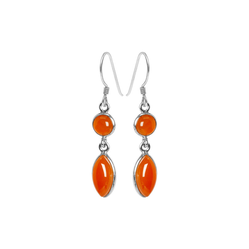 Sunset Glow Orange Sky Carnelian Petite Sterling Silver Earrings