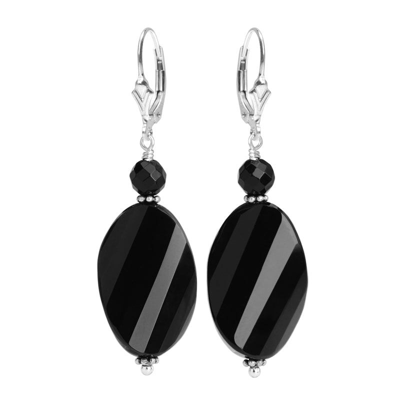 Gorgeous Wave Cut Faceted Black Onyx Sterling Silver Earrings