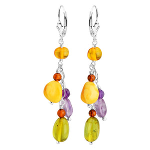 Gorgeous Amber and Amethyst Sterling Silver Earrings