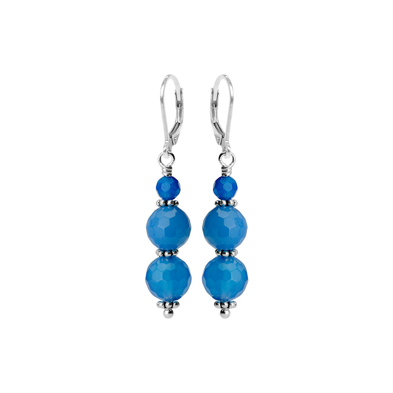 Gorgeous Blue Agate Sterling Silver Lever-Back Earring
