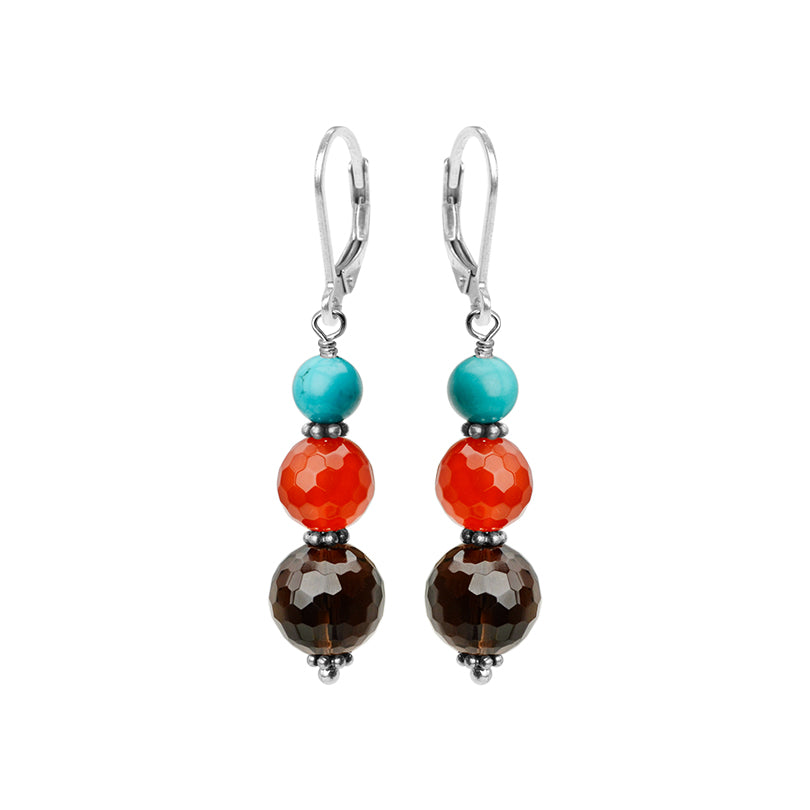 Brilliant Carnelian, Smoky Quartz & Chalk Turquoise Sterling Silver Lever Back Earrings