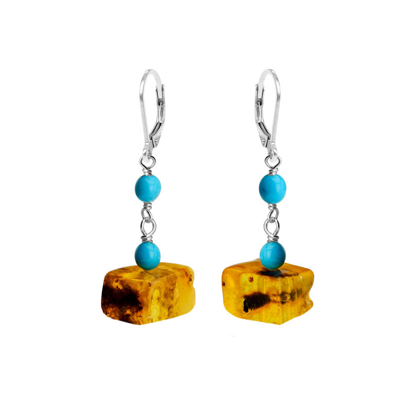 Flirty Honey Cognac Baltic Amber and Sleeping Beauty Turquoise Sterling Silver Earrings