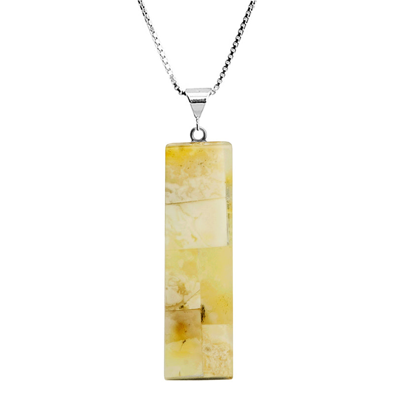 Lush, Pastel Colored, Mosaic Design Butterscotch Baltic Amber Sterling Silver Necklace