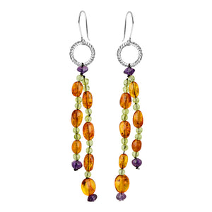 Lovely Cognac Baltic Amber, Peridot and Amethyst Sterling Silver Earrings
