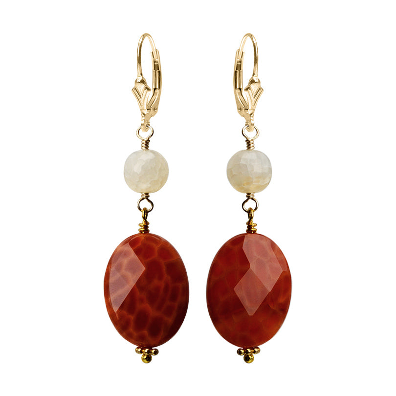 Bright Fire Agate & Creamy Faceted Agate Gold Filled Leverback Earrings