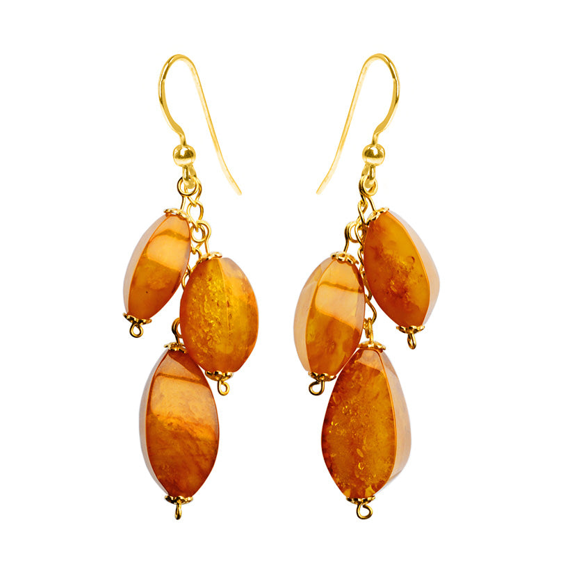 Polish Designer Butterscotch Baltic Amber Wave Cut Statement Earrings