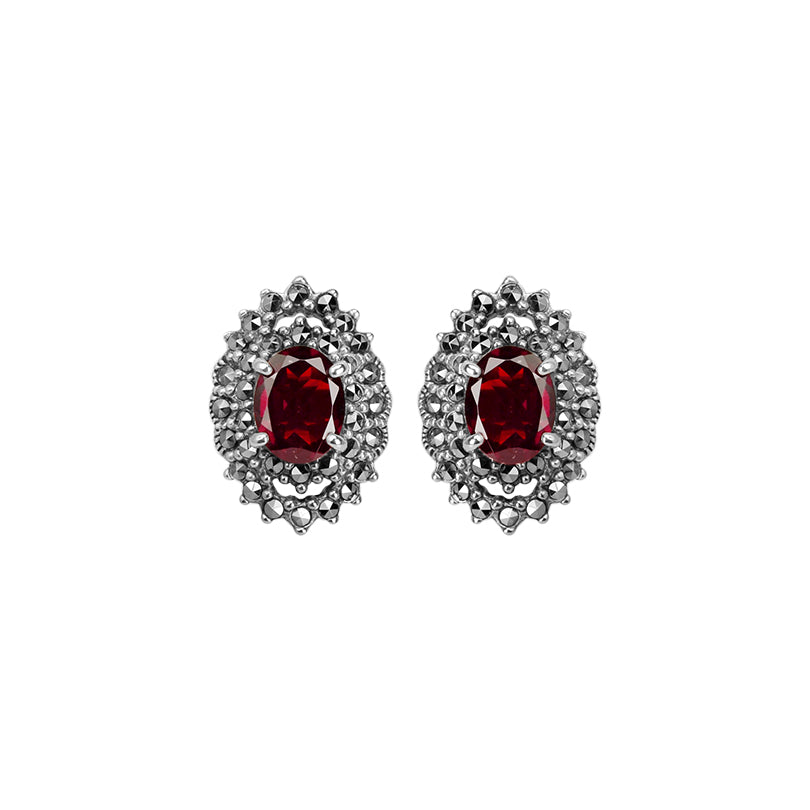 Gorgeous Sparkling Red Thai Garnet With Marcasite Sterling Silver Earrings