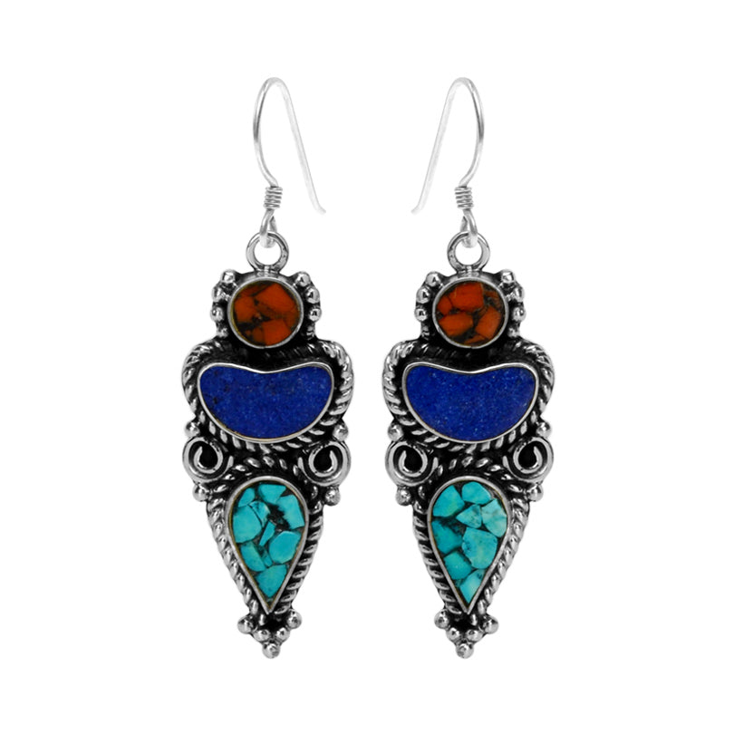 Authentic Nepal Design Himalayan Coral, Lapis and Turquoise Silver Plated Earrings with Sterling Hooks