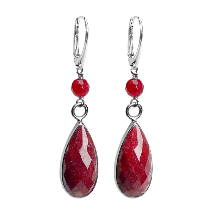 OMG! Lush Cranberry Red Corundum Sterling Silver Earrings With Burgundy Agate Accent.