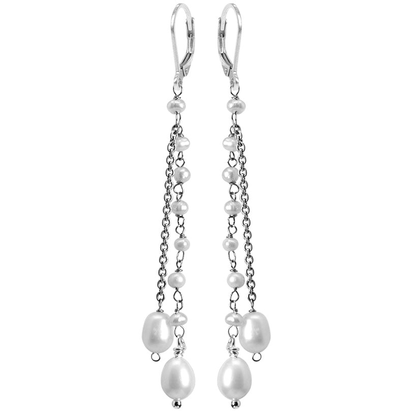 Elegant Strands Of Fresh Water Pearl Sterling Silver Earrings