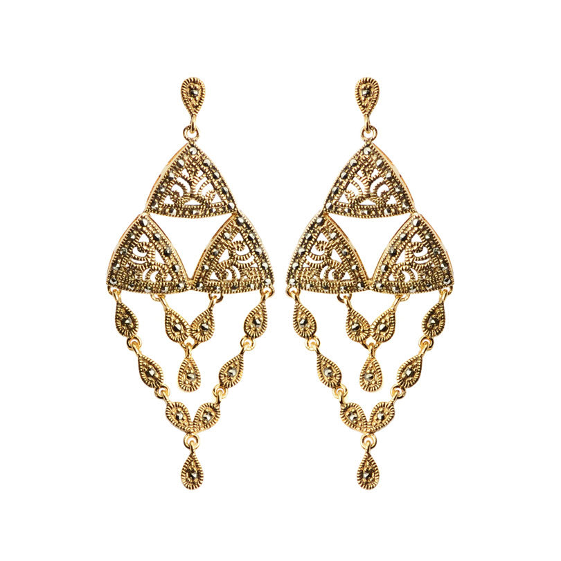 Gorgeous Vintage Gold Plated Marcasite Earrings