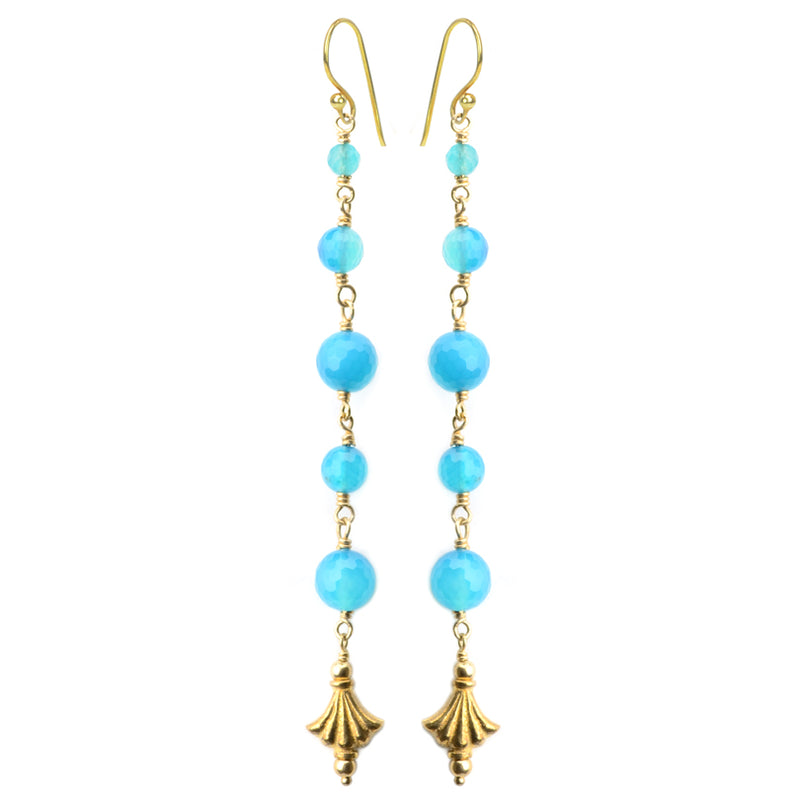 Luxurious Gold Plated Silver Blue Agate Earrings