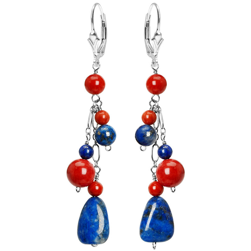 Striking Lapis and Coral Sterling Silver Earrings