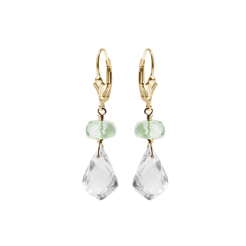 Darling Petite Green Amethyst and Faceted Quartz Gold Filled Earrings