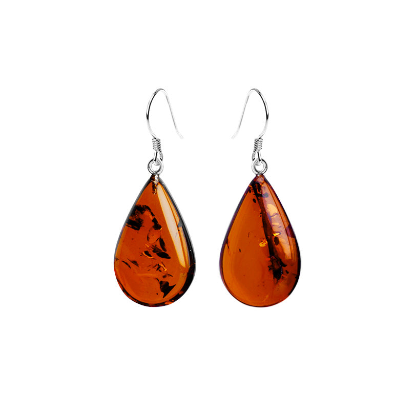 Rich Gorgeous Cognac Baltic Amber Sterling Silver Earrings