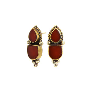 Deep Red Himalayan Coral Nepal Gold Plated Earrings