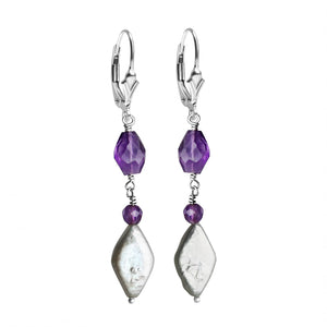 Charming Amethyst and Fresh Water Pearl Sterling Silver Earrings