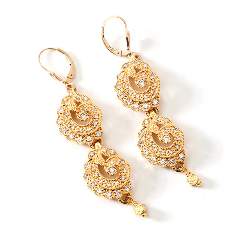 Sparkling 14KT Gold Plated CZ Crystal Earrings Gold Filled Hooks