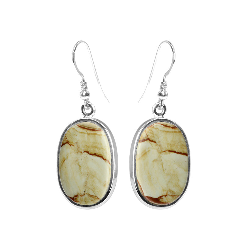 Light Green Picture Jasper  with Brick Red Wavey Lines Sterling Silver Earrings
